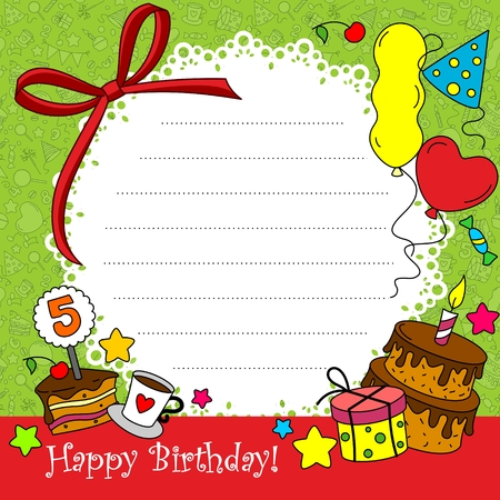 tea party: Birthday Card with elements of a circle part-2
