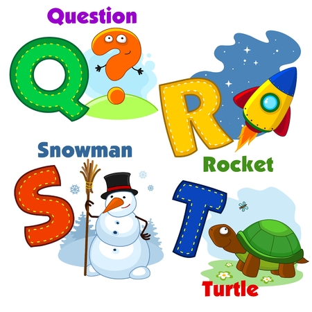 alphabet letters: English alphabet QRST with letters and pictures to them