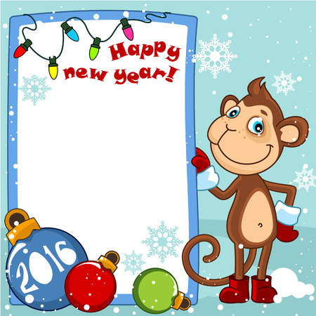 to get dressed: Happy new year card with a monkey