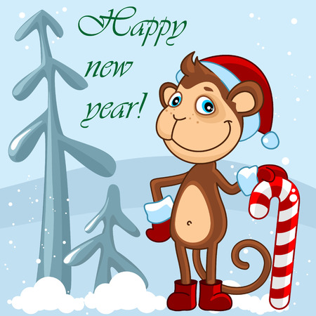 get dressed: Christmas card with a monkey