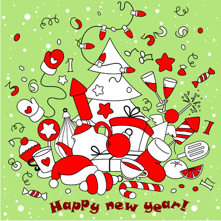 new year greeting: New Year greeting card in green and red colors.