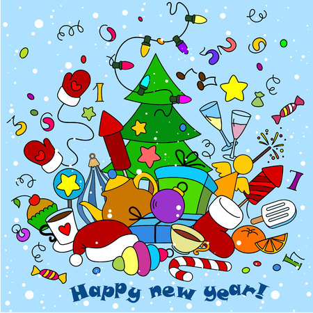 new year greeting: New Year greeting card with objects