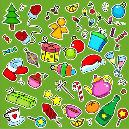 lobule: Many New Year objects stickers