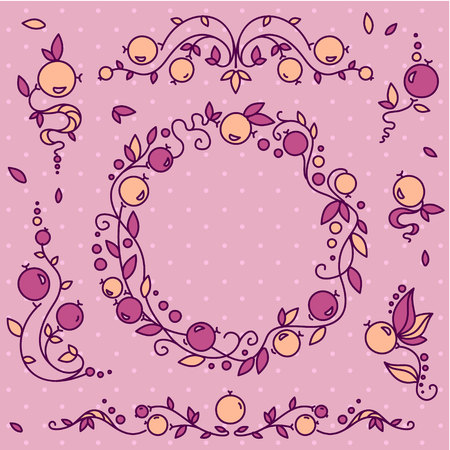 Violet set of seven decorative elements