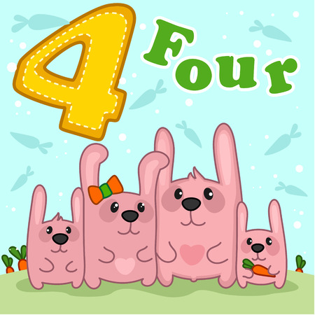 pink rabbit: Family of four pink rabbit standing in the meadow. Illustration