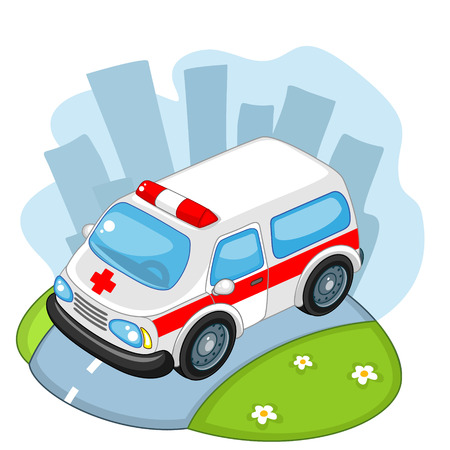 Ambulance going fast on the road Illustration