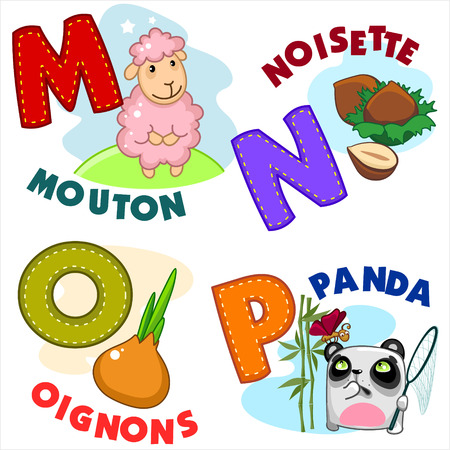 wool sheep: French alphabet with letters a MNOP in the picture, and the sheep, hazelnuts, onions, panda. Illustration
