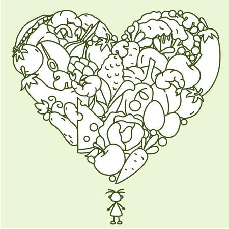 dessin au trait: Dessin d'aliment utile sous la forme de coeur