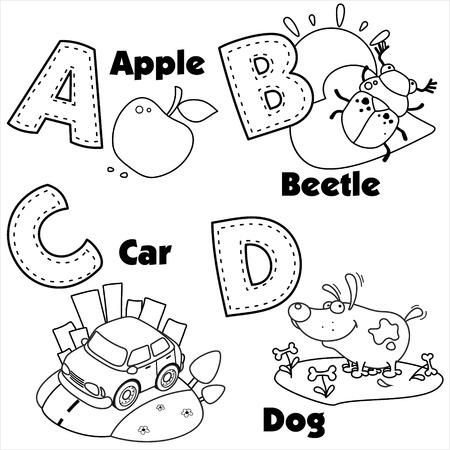De kleuring van het Engels alfabet en de letters A, B, C en D, en foto's op hen.
