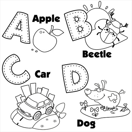 The coloring of the English alphabet and the letters A, B, C and D, and pictures on them.