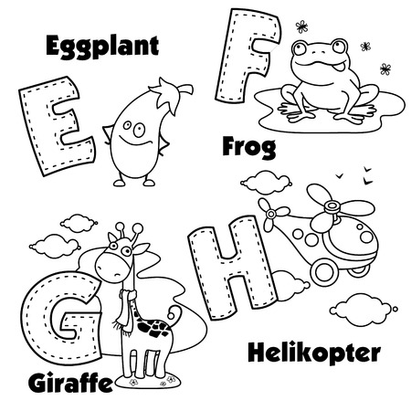 The coloring of the English alphabet and the letters E, F, G and H, and pictures on them.