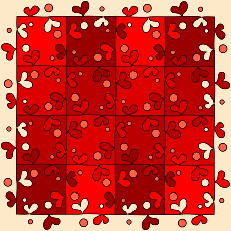 unite: Seamless red puzzle in the form of hearts.
