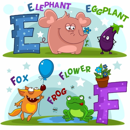 English alphabet with letters e and f and pictures to them