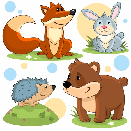 Cartoon pictures of fox, hedge dog, rabbit and bear.
