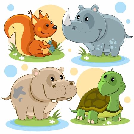 Cartoon pictures of squirrels, hippopotamus, rhinoceros and turtle. 向量圖像