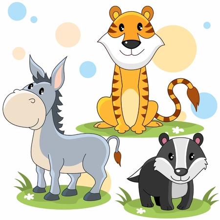 Cartoon image of tiger, donkey, and badger for children Illustration