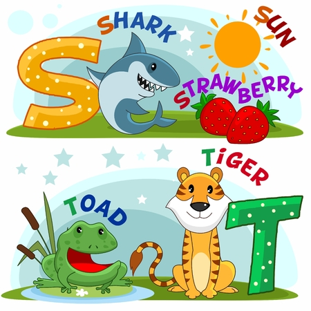 frog jump: Colored cartoon English alphabet with S and T letters for children. Illustration