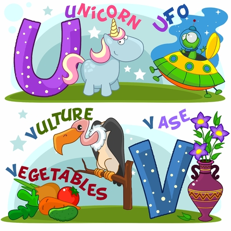 Colored cartoon English alphabet with U and V letters for children.