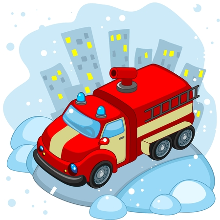 A cartoon fire truck is driving along the road in winter.