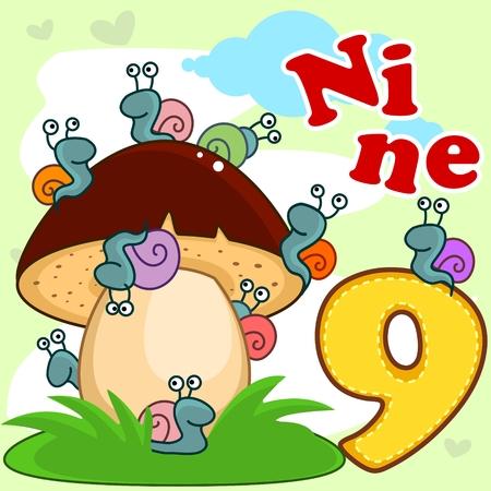 Number nine and nine snails