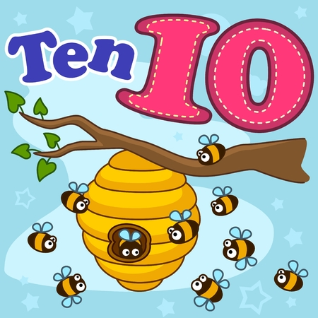 A cartoon illustration for children with figures of ten and ten bees that fly near the beehive. Illustration
