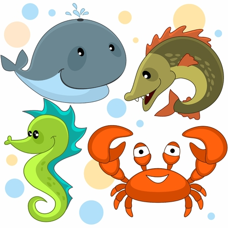 Set of cartoon pictures with marine animals for children whale, pike, crab and seahorse. Illustration