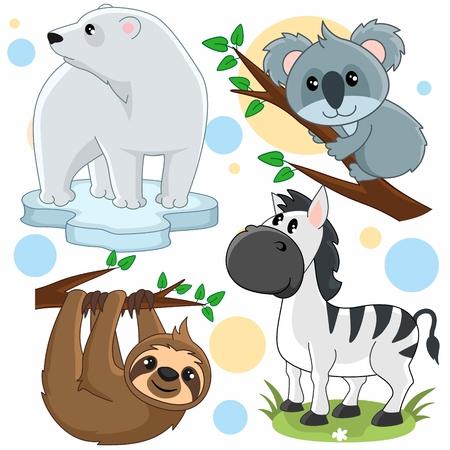 Een reeks cartoonafbeeldingen voor kinderen met een beer, een koala, een zebra en een luiaard aan een boom.