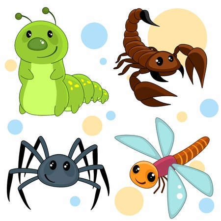 A set of illustrations of cartoon insects for children of a caterpillar, a spider, a scorpion and a dragonfly.