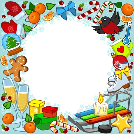Design a greeting card for the New Year holiday, with New Year objects. Image of a sledge, champagne, snow ball, mandarins, gifts, cookies, sweets, candies, a bird, candles and a bow on the background of snowflakes.
