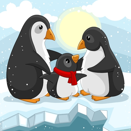 A cartoon picture for children. The family of penguins that love each other is standing on an ice floe and around it is snowing.