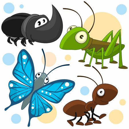 A set of cartoon illustrations with insects for children. Image of a blue butterfly, a grasshopper, an ant and an insect. Vettoriali