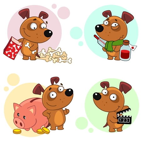 Fifth part of a collection of icons with dogs for design. Dog Folds the bones in a box, the dog is sick with a thermometer and medicines with a scarf around his neck, a dog stands near a piggy bank and coins, the dog shoots a film.