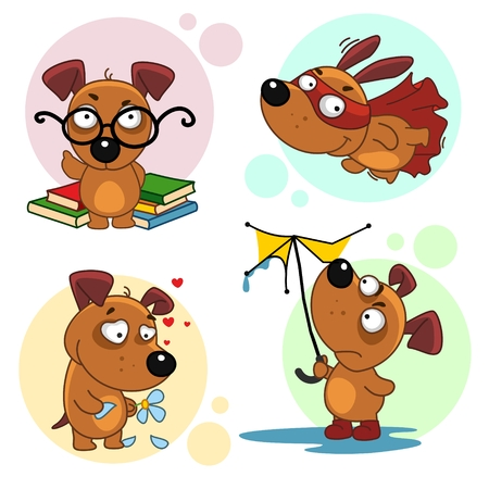 The first part of the collection of icons with dogs for design. A dog scientist with glasses and books, a flying dog wearing a mask and a raincoat, and a loving dog guessing on a flower, a dog in the rain with a broken umbrella.