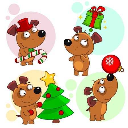 Tenth part of a collection of icons with dogs for design. A dog in a hat and candy, the dog thinks about the gift, the dog decorates the tree, the dog juggles with the New Years toy.