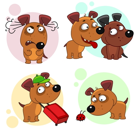 Ninth part of a collection of icons with dogs for design. A dog is angry in anger, a dog wants to be friends, a dog traveler with a suitcase, a dog with a ladybug.