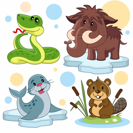 A set of cartoon illustrations for children. The image of a snake, a mammoth, a seal on an ice floe and a beaver in reeds. Stock Photo