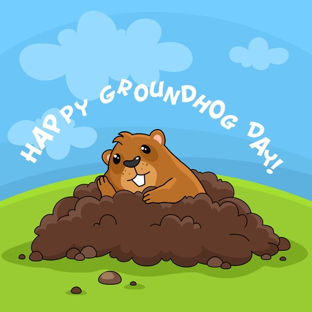 Illustration of the image Happy Groundhog Day with the inscription. Postcard for design on holiday. The marmot got out of the hole and sits bored and thinks. Ilustração