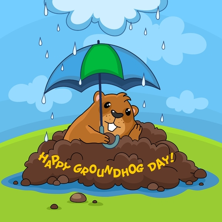 Illustration of the image Happy Groundhog Day with the inscription. Postcard for design on holiday. A sad marmot sits under an umbrella is raining.