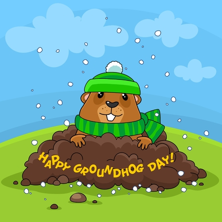 Illustration of the image Happy Groundhog Day with the inscription. Postcard for design on holiday. The marmot in the hat and scarf climbed out of the hole, its cold and its snowing.