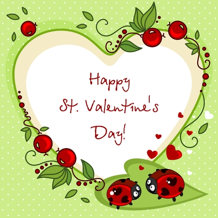 Design of cards for Valentines Day. Drawing two ladybirds with dots in the eyes of the hearth.