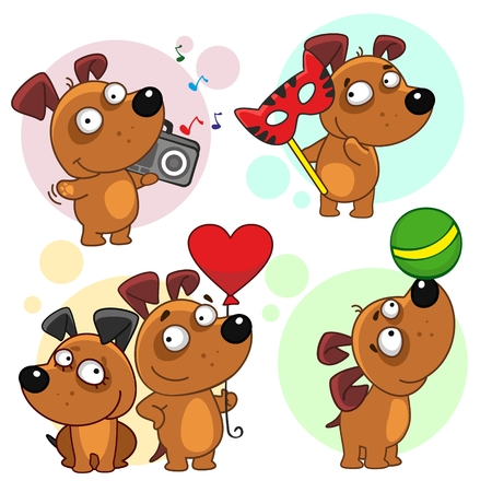 Thirteenth icon set with dogs for design. The dog stands with a tape on his shoulder and listens to music, with a carnival mask, playing with a ball, two dogs with a balloon in the form of a heart.