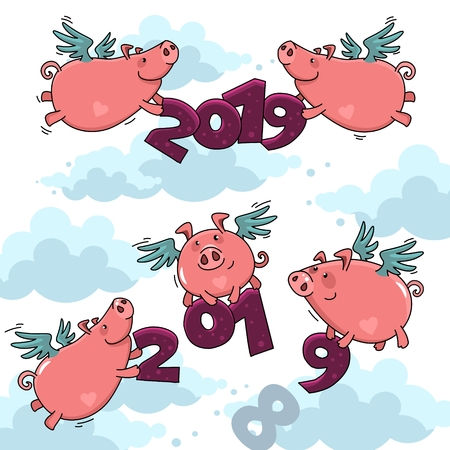 A set of images of pink piglets with wings in the cornflakes holding the numbers 2019. A beautiful illustration for design. Stock Photo