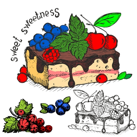 Beautiful delicious piece of cake decorated with chocolate and berries with a set of coloring this piece, blueberries and currants.