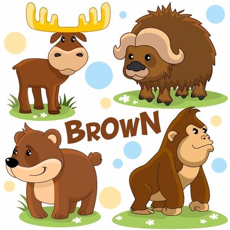 Set of wild animals. Image of bear characters, chimpanzee, moose and yak.