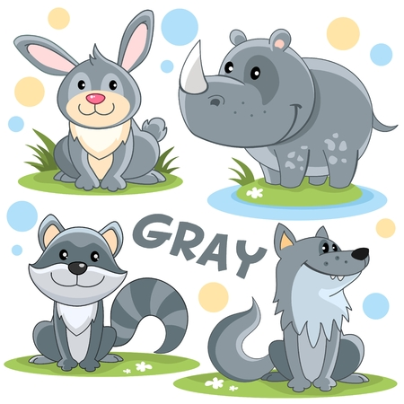 Set of wild animals of gray color for children and design. The image of a character, a hare, a rhinoceros, a striped raccoon and a wol Stock Illustratie