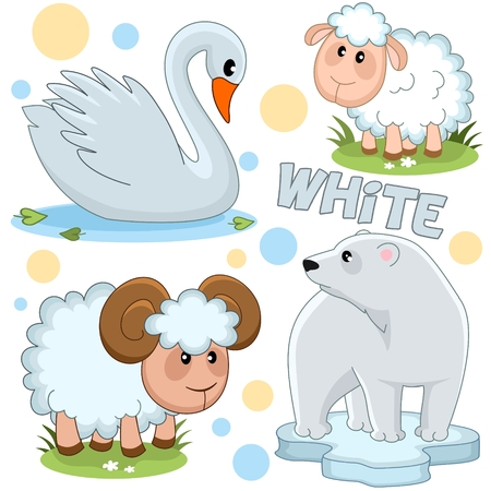 A set of wild and domestic animals. The image of a swan, a polar bear, a sheep and a ram. Stock Photo