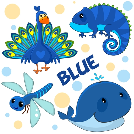 A set of wild animals, birds, reptiles and insects for children and blue design. Images of a peacock, a whale, a dragonfly and a lizard, a chameleon. Illustration