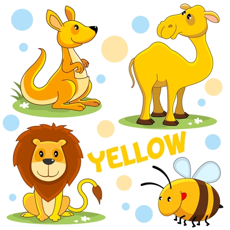 A set of wild animals and insects for children and a yellow design. The image of a lion, a kangaroo, a camel, a bee, a bumblebee.
