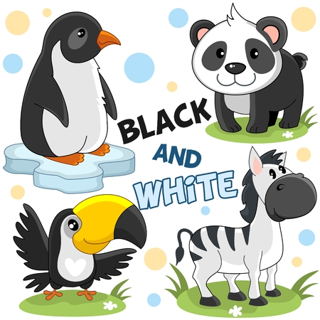 A set of wild animals and birds white and black for children and design. An image of a penguin, panda, toucan and striped zebra.