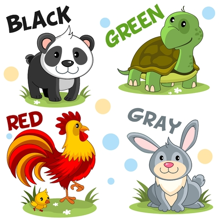Set of cartoon illustrations of wild and domestic animals, birds and reptiles for children and design, black panda, green turtle, red rooster with chicken and gray hare, rabbit.